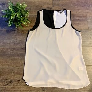Express color block twist back tank top